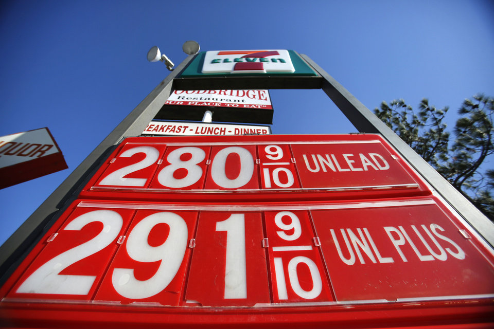 Regular unleaded was $2.80 a gallon Monday at 7-Eleven at NW 39 and Tulsa in Oklahoma City.  Photo By Steve Gooch,  The Oklahoman