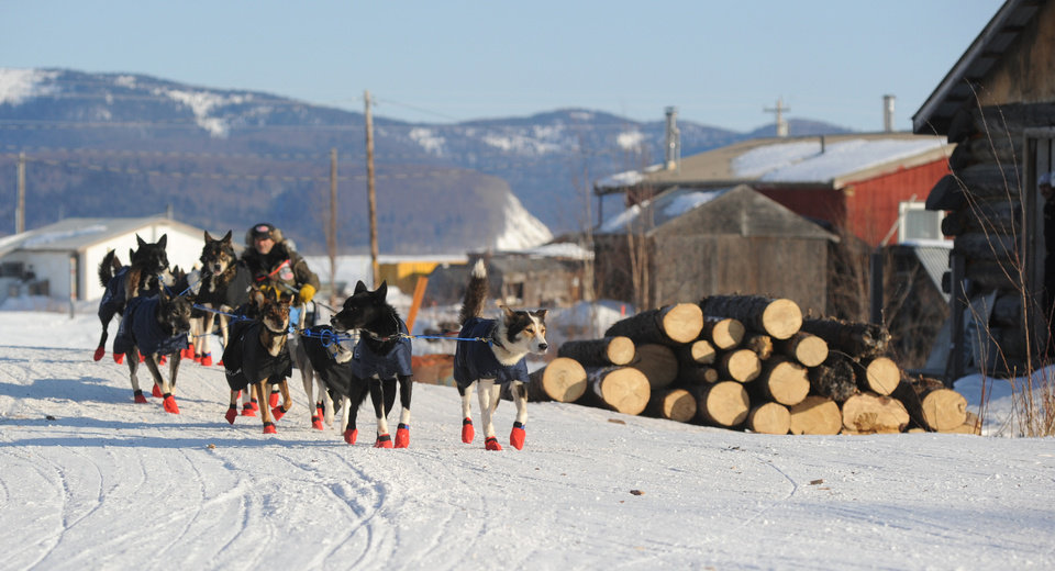 Photo - Robert Sorlie drives his team out of the Yukon River village of Kaltag during the 2014 Iditarod Trail Sled Dog Race on Saturday, March 8, 2014.  (AP Photo/The Anchorage Daily News, Bob Hallinen)