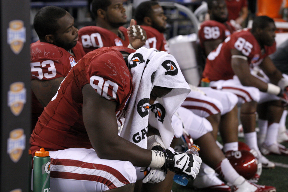 Oklahoma\'s David King (90) sits on the bench during the Cotton Bowl college football game between the University of Oklahoma (OU)and Texas A&M University at Cowboys Stadium in Arlington, Texas, Friday, Jan. 4, 2013. Oklahoma lost 41-13. Photo by Bryan Terry, The Oklahoman