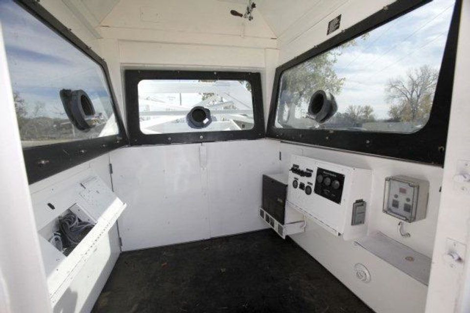 Photo - This is an interior view of the  Norman Police Department's newly acquired Skywatch mobile observation tower, which will be used to deter crime, police said. PHOTO BY PAUL HELLSTERN, THE OKLAHOMAN  PAUL HELLSTERN