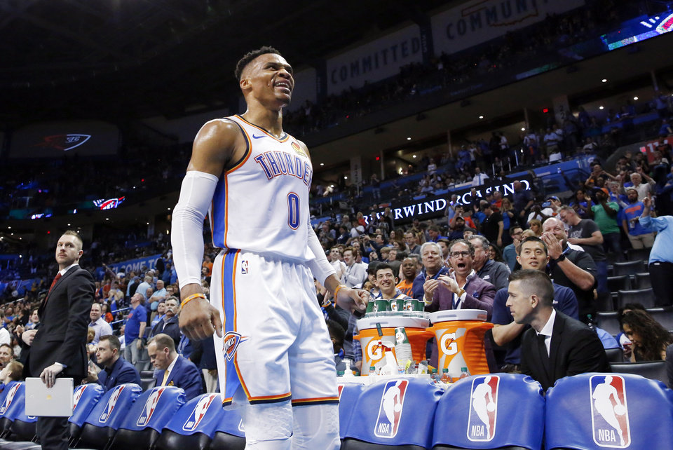 Photo - Oklahoma City's Russell Westbrook (0) yells as he leaves the game in the fourth quarter after grabbing his 20th rebound to finish with 20 points, 21 assists and 20 rebounds during an NBA basketball game between the Los Angeles Lakers and the Oklahoma City Thunder at Chesapeake Energy Arena in Oklahoma City, Tuesday, April 2, 2019. Oklahoma City won 119-103. Photo by Nate Billings, The Oklahoman