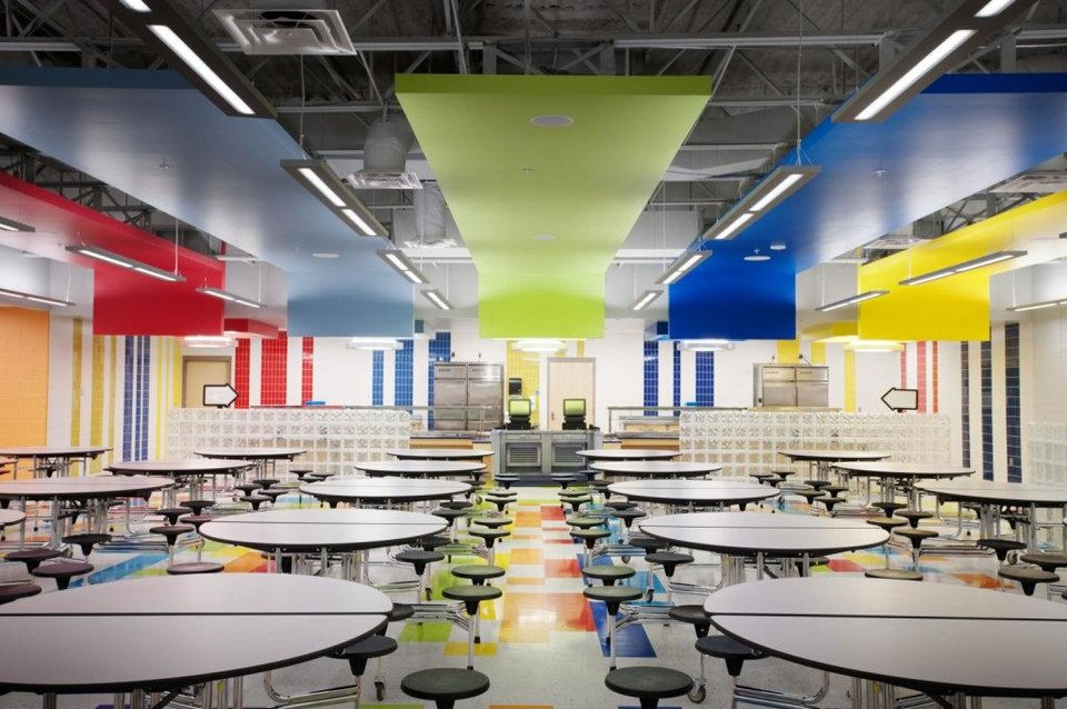 Design elements reminiscent of now-defunct Frankoma Pottery can be seen in the cafeteria at Holmes Park Elementary School in Sapulpa, designed by LWPB Architecture. Widely known Frankoma Pottery, based in Sapulpa, closed in 2010. PHOTOS PROVIDED BY JOSEPH MILLS PHOTOGRAPHY