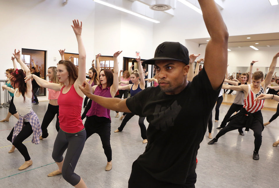 Leading choreographers and OCU alumni, brothers Marcel. shown here,  and Kevin Wilson returned to Oklahoma City University to teach a dance class on Friday, Nov. 2, 2012, in the Ann Lacy School of American Dance and Arts Management on the school's campus. The Wilson brothers are well known in the music and dance industry  for  their cutting-edge choreography and unique fusion of jazz, contemporary, hip hop, pop and musical-theater dance. They have performed with recording artists including Madonna, Beyonce, the late Whitney Houston and have toured globally with entertainers such as Janet Jackson, Britney Spears and Christina Aguilera.    Photo by Jim Beckel, The Oklahoman