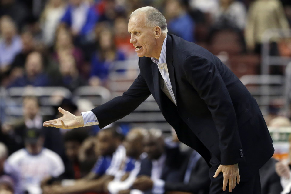 Philadelphia 76ers head coach Doug Collins directs his team in the first half of an NBA basketball game against the Houston Rockets, Saturday, Jan. 12, 2013, in Philadelphia. Philadelphia won 107-100. (AP Photo/Matt Slocum)
