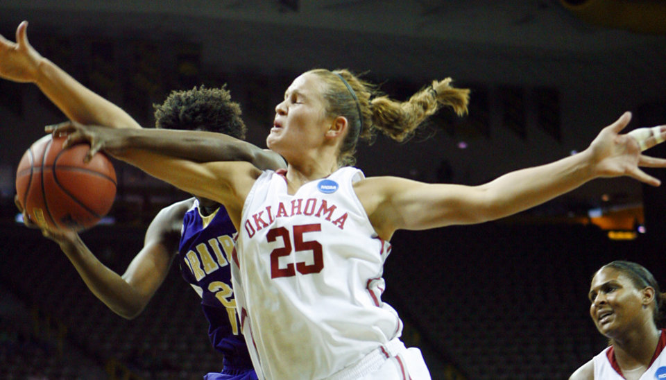 Whitney Hand fights for a rebound in the first half of OU's game vs. Prarie View A&M in the first round of the 2009 NCAA Tournament at Carver-Hawkeye Arena in Iowa City, Iowa. PHOTO BY STEVE SISNEY, The Oklahoman Archives