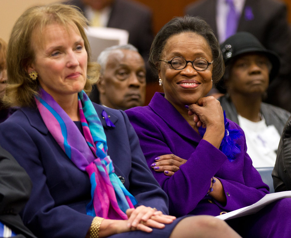 State Rep. Lois DeBerry, right, and House Speaker Beth Harwell participate in a ceremony in Nashville, Tenn., on Monday, Nov. 19, 2012, to declare November pancreatic cancer awareness month. DeBerry, a Memphis Democrat, is a pancreatic cancer survivor. (AP Photo/Erik Schelzig)