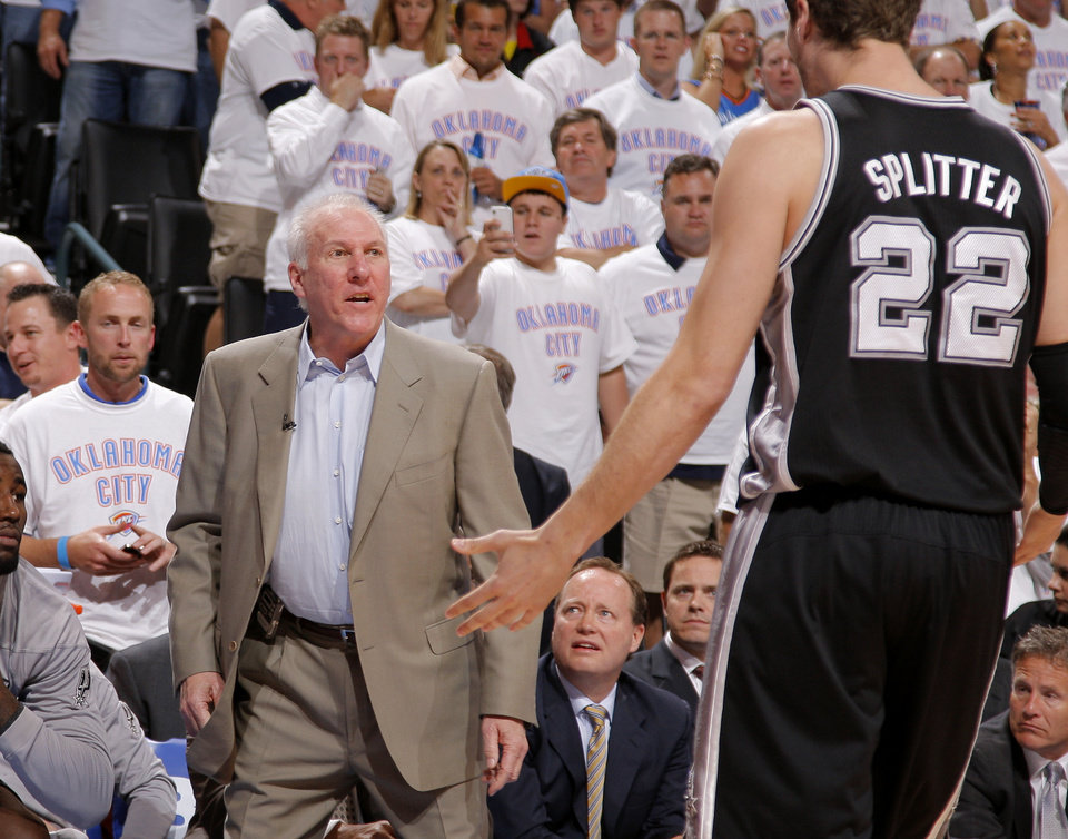 Photo - San Antonio coach Gregg Popovich shouts at San Antonio's Tiago Splitter (22) during Game 6 of the Western Conference Finals between the Oklahoma City Thunder and the San Antonio Spurs in the NBA playoffs at the Chesapeake Energy Arena in Oklahoma City, Wednesday, June 6, 2012. Oklahoma City won 107-99. Photo by Bryan Terry, The Oklahoman