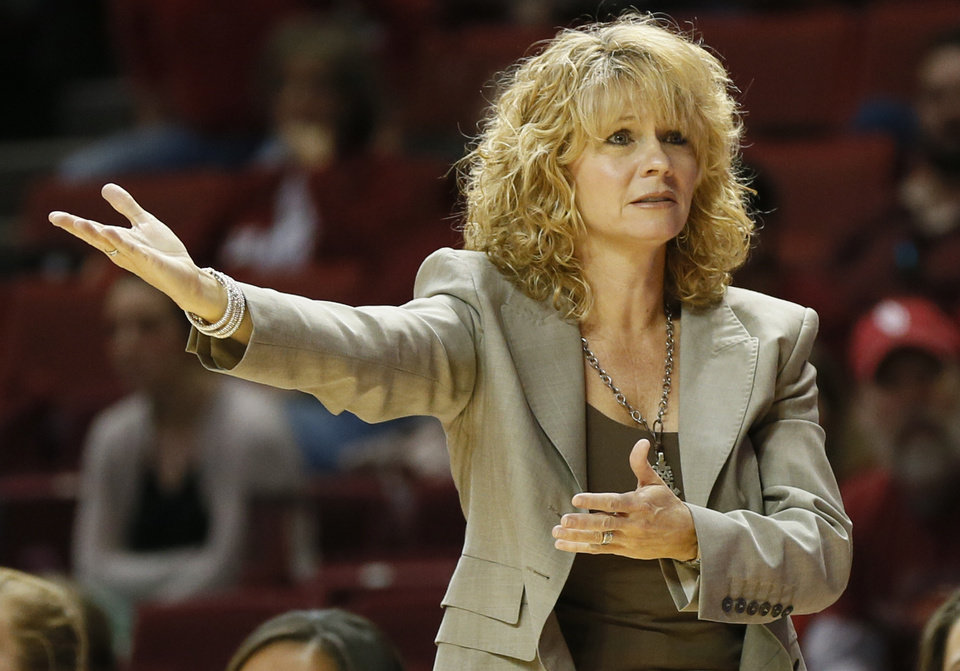 OU head coach Sherri Coale reacts to a call in the second half during a women's college basketball game between the University of Oklahoma (OU) and Cal State Northridge at the Lloyd Noble Center in Norman, Okla., Saturday, Dec. 29, 2012. OU won, 79-57.  Photo by Nate Billings, The Oklahoman