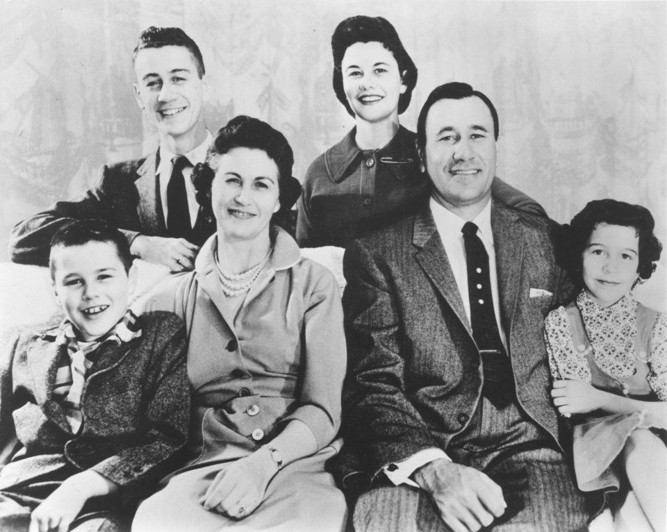 Photo - File photo dated 3-7-62 of Tulsa evangelist Oral Roberts, founder of the City of Faith in Tulsa, and family, (Standing) Ronald David, Rebecca Ann, (Seated) Richard Lee, Evelyn, Oral, and Roberta Jean.  Oklahoman File Photo originally obtained from Oral Roberts Evangelistic Association