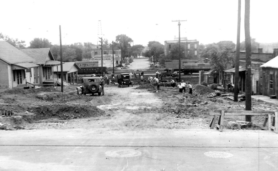 Photo - The Deep Deuce area at the Stiles Avenue crossing is seen in this 1930s photo. The Oklahoman Archives