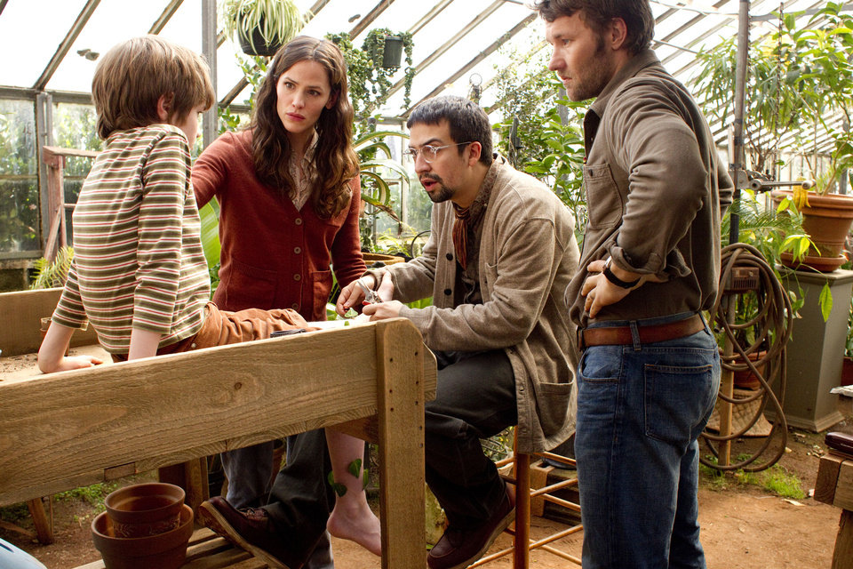 "This film image released by Disney shows, from left, Cameron ""CJ"" Adams, Jennifer Garner, Lin-Manuel Miranda, Joel Edgerton in a scene from ""The Odd Life Of Timothy Green."" (AP Photo/Disney, Phil Bray) ORG XMIT: NYET231"