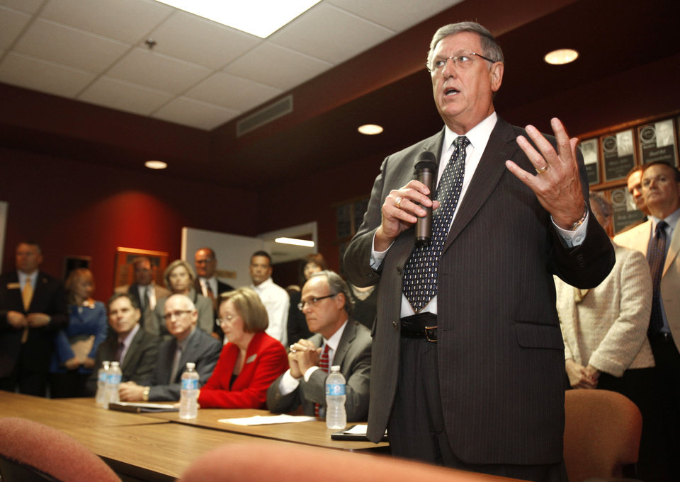 Photo - Tulsa Public Schools Superintendent Keith Ballard speaks Thursday, Oct. 4, 2012, during a news conference as school chiefs from across the state are meeting in Oklahoma City to express concern and frustration about the A-F school evaluation reform.  By Paul Hellstern, The Oklahoman  PAUL HELLSTERN - Oklahoman