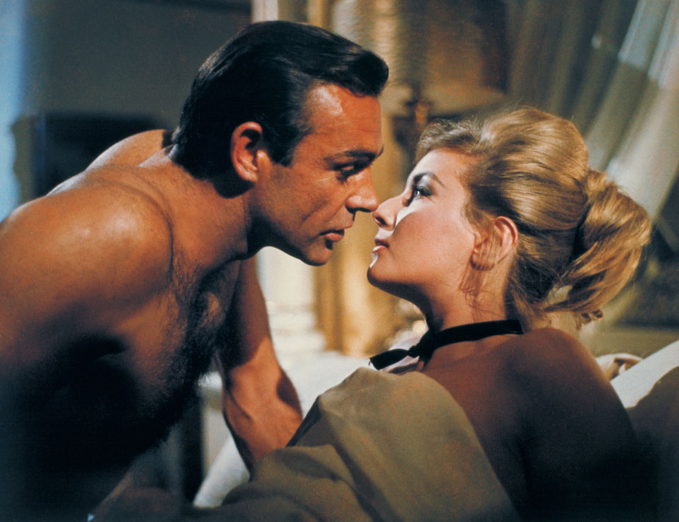 "Sean Connery, left, appears as James Bond in a scene from the 1963 film, ""From Russia With Love."" Connery, a relatively unknown Scottish actor and former bodybuilder, was cast in the hit movie as the first James Bond. The film is included in the MGM and 20th Century Fox Home Entertainment Blu-Ray ""Bond 50"" anniversary set. AP Photo"