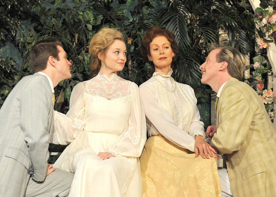 Photo - From left, Alex Enterline stars as Claudio, Lauren Thompson as Hero,  Stacey Logan as Beatrice and Lane Fields as Benedick in Shakespeare's