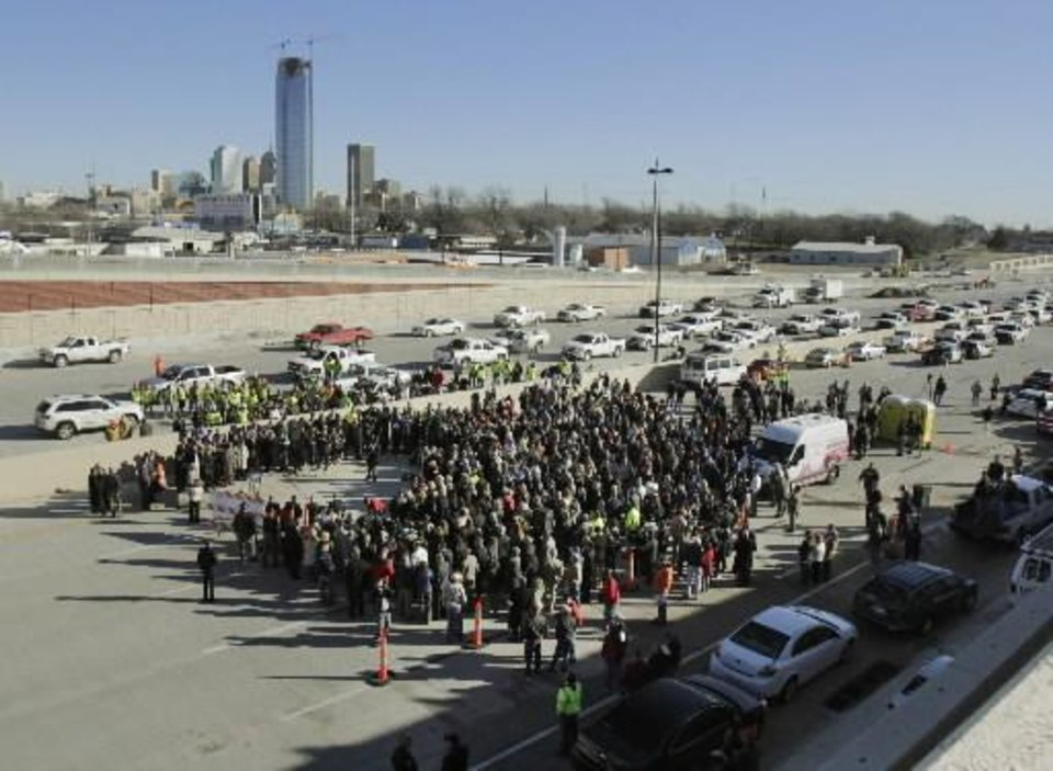 Hundreds attend the opening ceremony Thursday of a new section of Interstate 40 in Oklahoma City. Photo by Paul Hellstern
