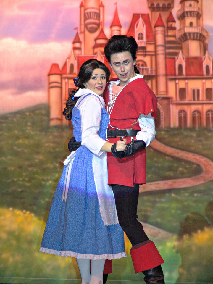 Choctaw High School students Hope Chancey performs as Belle and Joel Anderson performs as Gaston in the school�s production of �Beauty and the Beast,� opening Thursday.PHOTO PROVIDED
