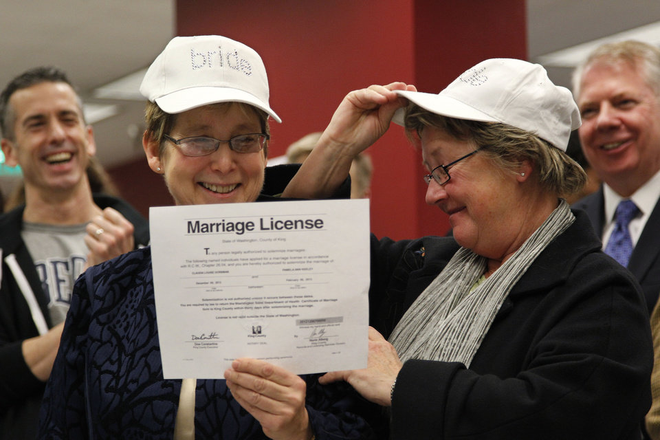 Claudia Gorbman, left, and partner Pam Keeley wear caps both reading