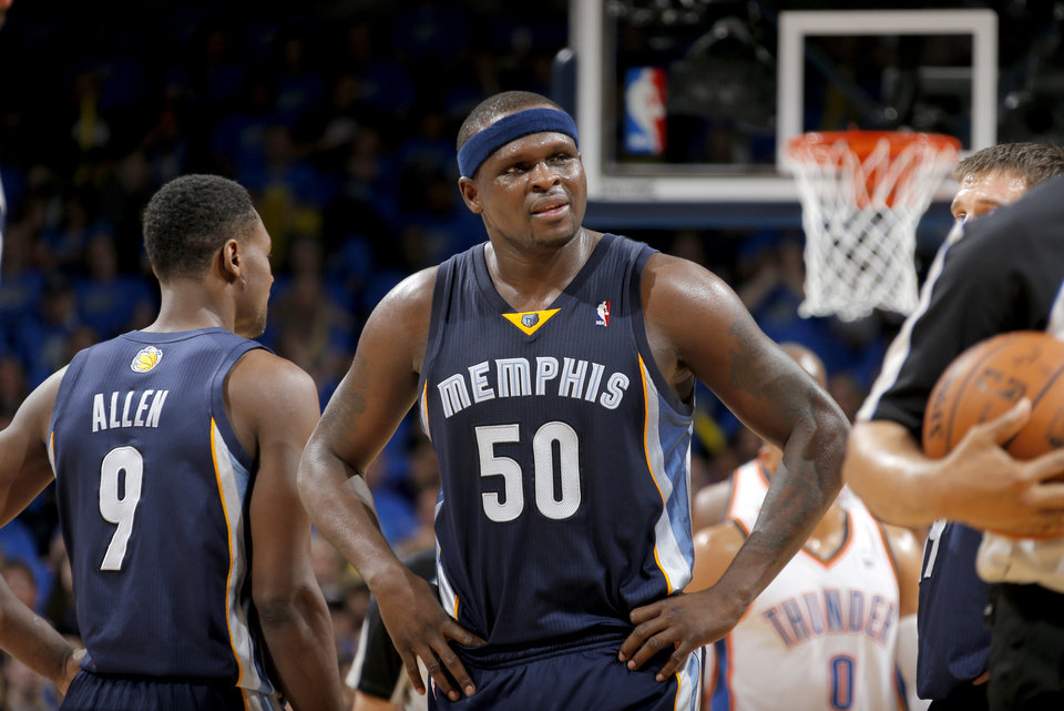Photo - Memphis' Zach Randolph (50) reacts  during Game 1 in the first round of the NBA playoffs between the Oklahoma City Thunder and the Memphis Grizzlies at Chesapeake Energy Arena in Oklahoma City, Saturday, April 19, 2014. Photo by Sarah Phipps, The Oklahoman
