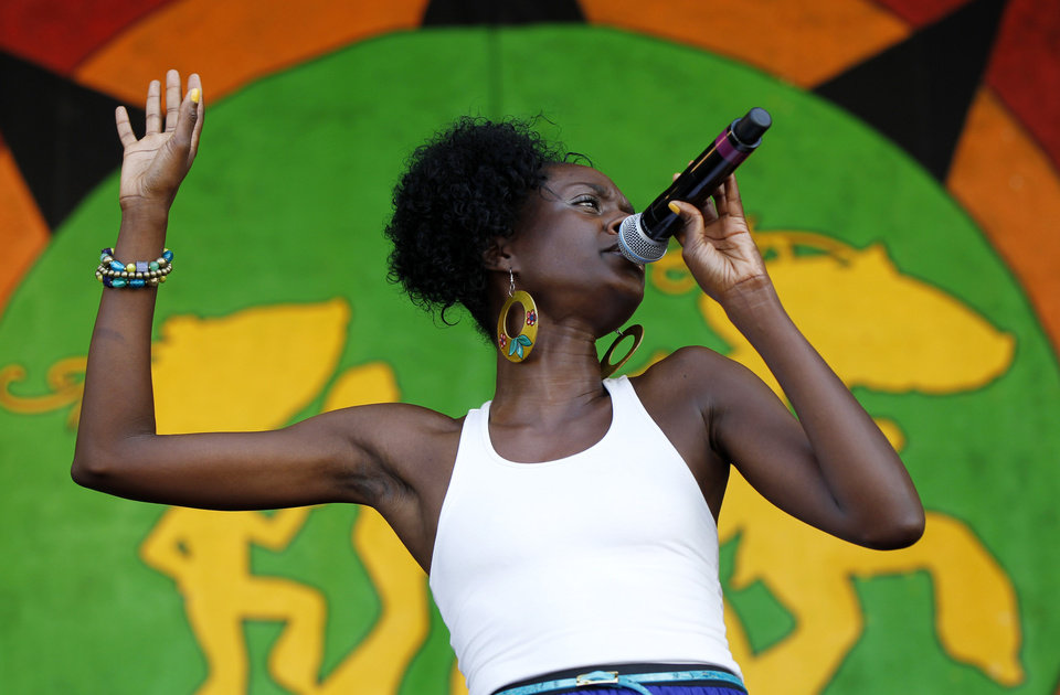 Photo -   Nayo Jones performs at the New Orleans Jazz and Heritage Festival in New Orleans, Friday, May 4, 2012. (AP Photo/Gerald Herbert)