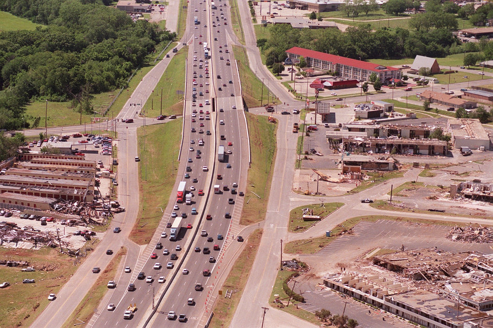 Tornado damage, aerial view: Sooner Rd. and I-40 interchange looking west.