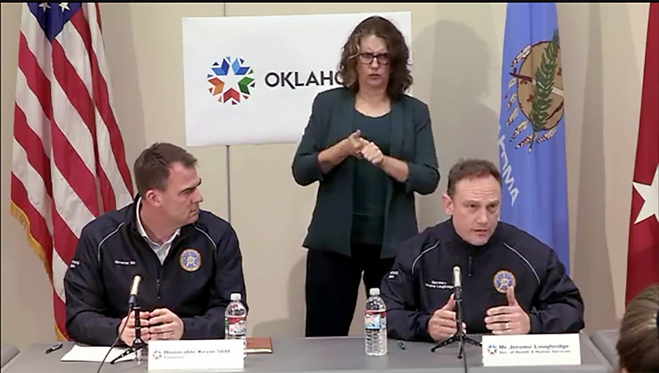 Photo - Jerome Loughridge, Oklahoma Secretary of Health & Mental Health, speaks. Gov. Kevin Stitt announced Sunday he will expand a gubernatorial task force to enhance the stateÕs response to the COVID-19 pandemic. Still frame from Facebook Live feed