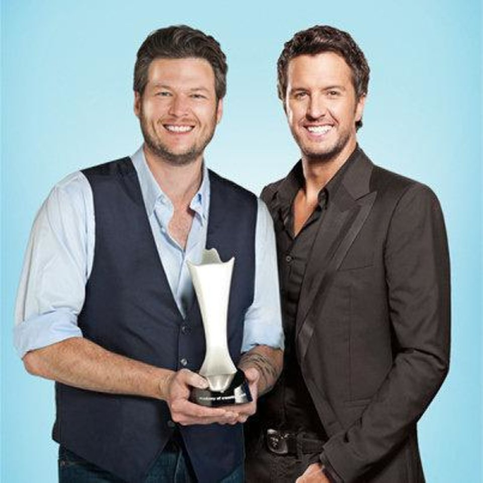 Tishomingo resident Blake Shelton, left, and Luke Bryan will co-host the 48th Annual Academy of Country Music Awards, airing Sunday night on CBS. Photo provided. <strong></strong>