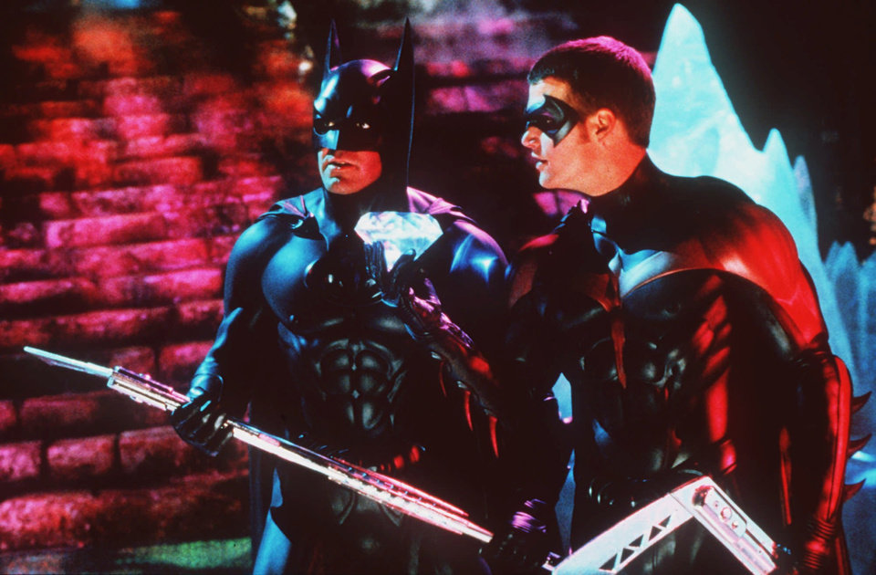 Photo - George Clooney, left, and Chris O'Donnell are shown in the roles of Batman and Robin in a scene from the Warner Bros. film