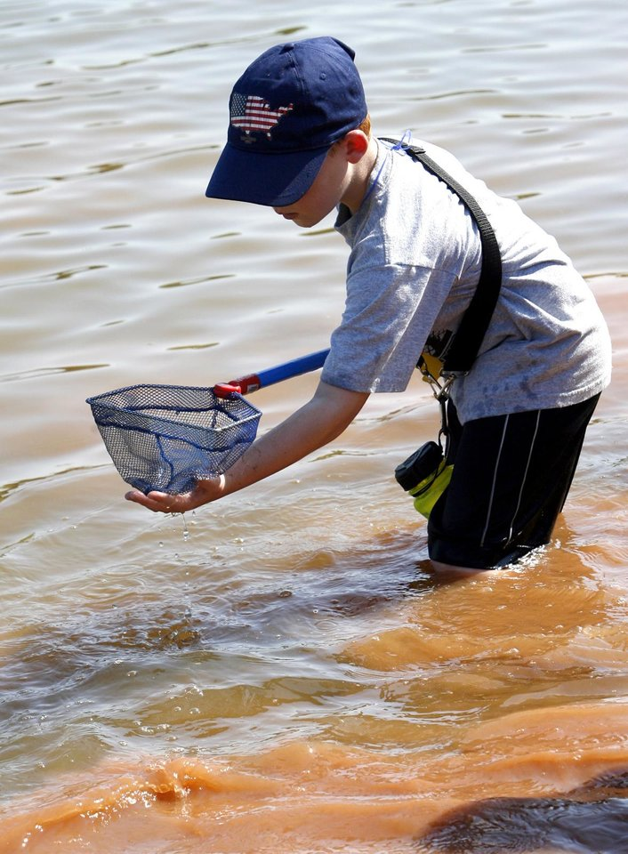 Zachary Geiser nets specimens during the Slime and Scales summer program  in Norman.  Photos by Steve Sisney, The Oklahoman