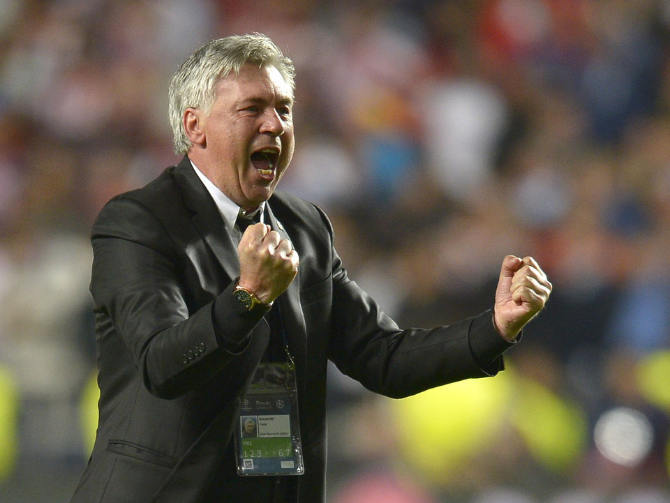 Photo - Real's coach Carlo Ancelotti gestures,  during the Champions League final soccer match between Atletico Madrid and Real Madrid in Lisbon, Portugal, Saturday, May 24, 2014. (AP Photo/Manu Fernandez)