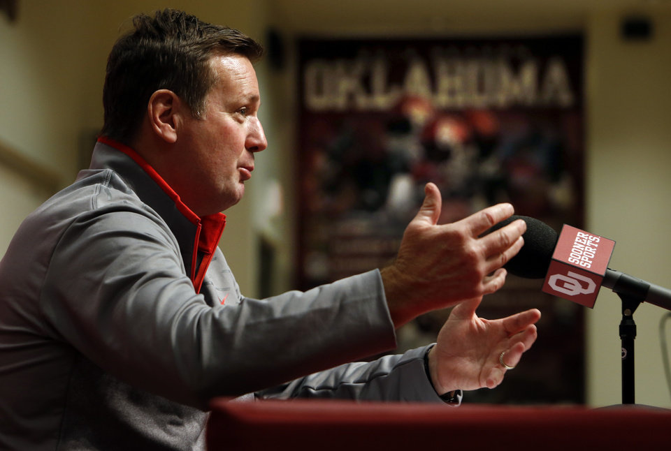 Photo - University of Oklahoma head football coach Bob Stoops speaks during a press conference on National Signing Day at OU on Wednesday, Feb. 6, 2013, in Norman, Okla.  Photo by Steve Sisney, The Oklahoman
