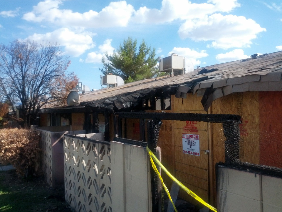 The burned remains of fire damaged homes at Paradise Spa remain unrepaired months after they were vacated. <strong>Provided</strong>