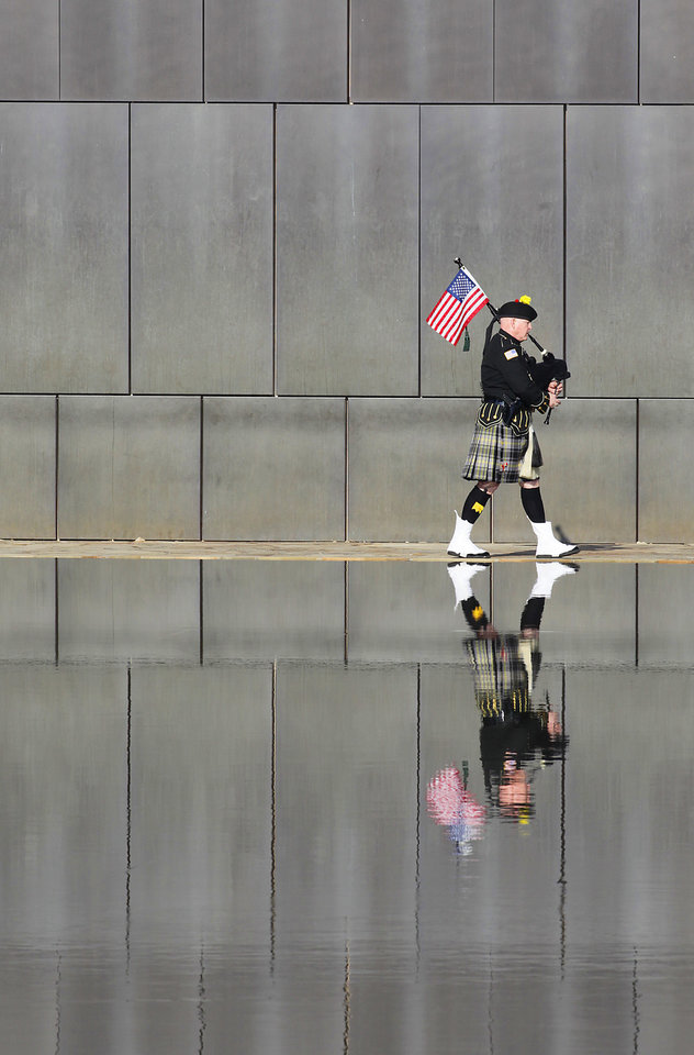 Kevin M. Donnelly, Pipe Sergeant DEA Black and Gold Pipes and Drums, plays at the opening of the Day of Remembrance Ceremony, Tuesday, April 19, 2011.  This was the 16th annual Oklahoma City Bombing Memorial ceremony.   Photo by David McDaniel, The Oklahoman