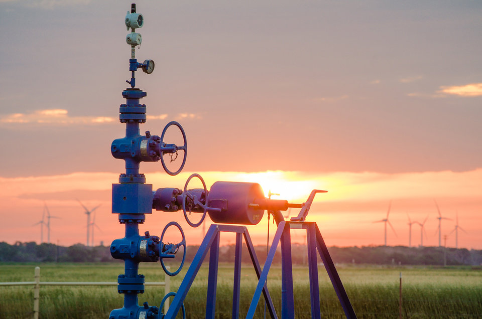 Photo -  A Devon Energy Corp. well produces natural gas in central Oklahoma's STACK field. [Photo provided]