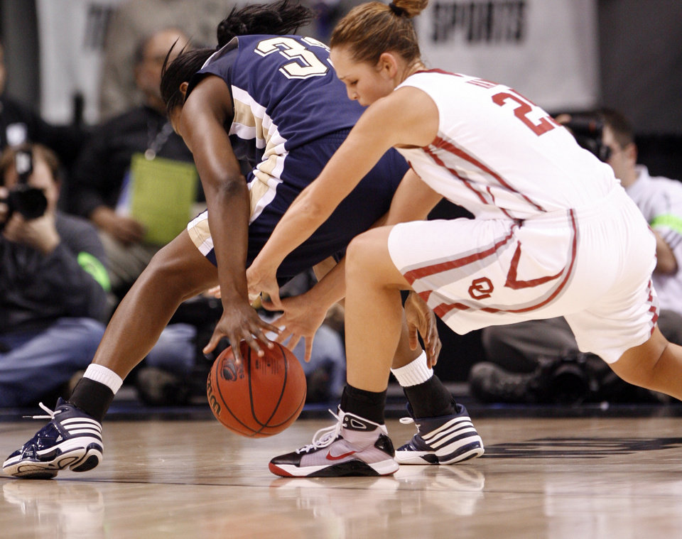 Whitney Hand steels the ball from Xenia Stewart in the first half of the NCAA women's basketball tournament game between the University of Oklahoma and Pittsburgh at the Ford Center in Oklahoma City, Okla. on Sunday, March 29, 2009. 