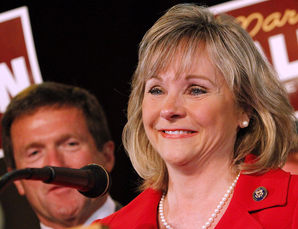 Photo - Mary Fallin  speaks to supporters at the Will Rogers Theater in Oklahoma City, Oklahoma on Tuesday, July 27, 2010.  Photo by John Clanton, The Oklahoman