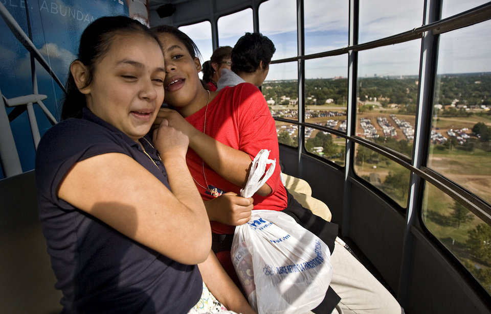 Rocio Molina and Eryn Dozier, from left, react as they go higher during their ride in the OG&E Wind Power Tower while on their trip to the 2009 Oklahoma State Fair at State Fair Park with the Knights of Columbus on Wednesday, Sept. 23, 2009, in Oklahoma City, Okla.  Photo by Chris Landsberger, The Oklahoman.