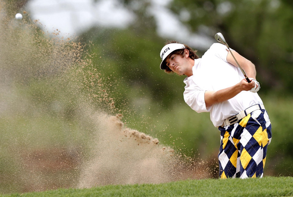 Trent Mewbourn (cq) hits out of a bunker during the Class 4A Boy's State Golf Tournament at Lake Hefner Golf Course, Tuesday,  May 8, 2012.   Photo by Jim Beckel, The Oklahoman