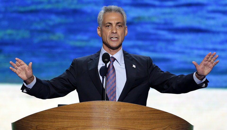 Photo - Chicago Mayor Rahm Emanuel addresses the Democratic National Convention in Charlotte, N.C., on Tuesday, Sept. 4, 2012. (AP Photo/J. Scott Applewhite)  ORG XMIT: DNC166