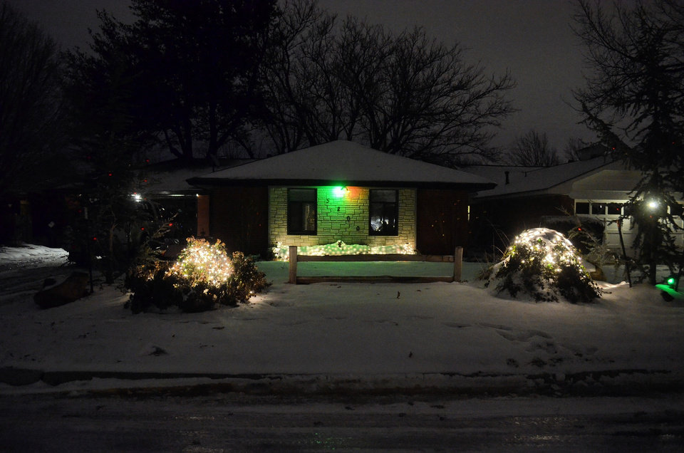 Christmas Lights December 2013 with the snow. Photo by Johnny and Sybil Hale