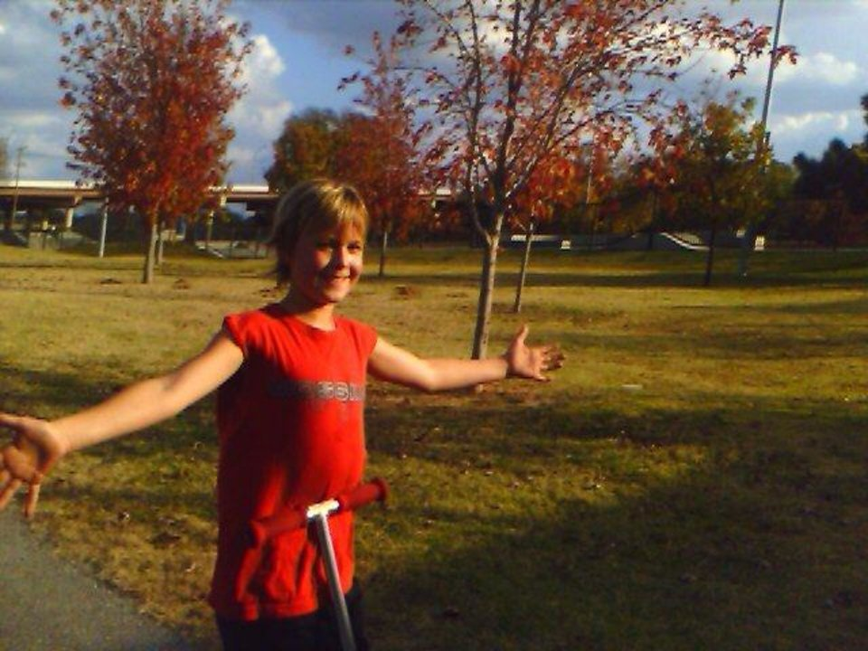 Look Mom no hands...see the pretty trees. Downtown skate park<br/><b>Community Photo By:</b> Mom . Tama kirkpatrick<br/><b>Submitted By:</b> Tama, Midwest