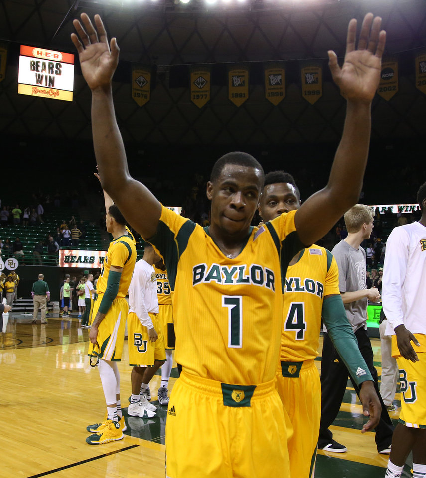 Photo - Baylor guard Kenny Chery (1) reacts to Baylor's 87-73 win over Kansas State in two overtimes in an NCAA college basketball game, Saturday, Feb. 15, 2014, in Waco, Texas. (AP Photo/Waco Tribune Herald, Rod Aydelotte)