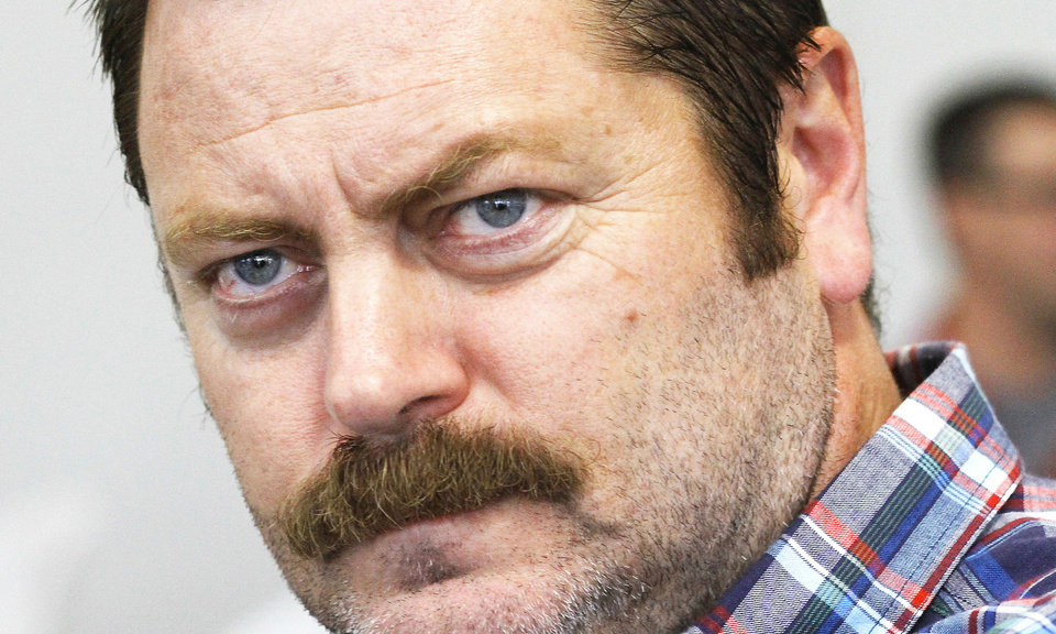 Photo - GOES WITH GEORGE LANG STORY   Nick Offerman, actor in television show, 'Parks and Recreation', in Oklahoma City at the Dead Center Film Festival on the Oklahoma River, Wednesday, June 6,  2012,    Photo by Jim Beckel, The Oklahoman
