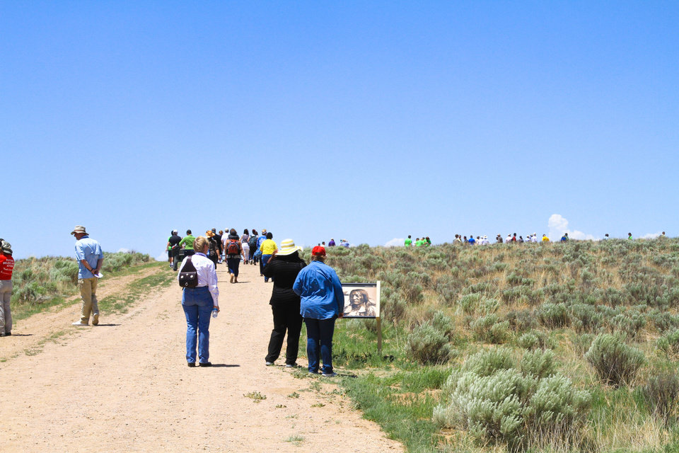 Photo -  Descendants of the Sand Creek Massacre and United Methodists participate in the recent Sand Creek Massacre Pilgrimage hosted by the Rocky Mountain Conference of the United Methodist Church in Eads, Colo. Photo by Ginny Underwood