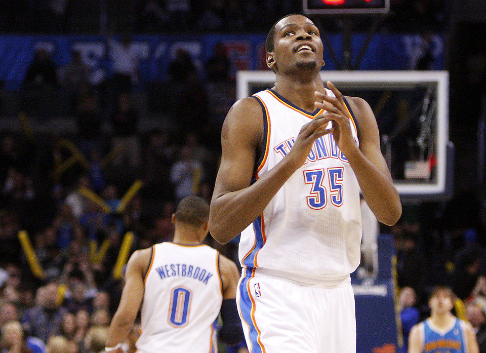 Kevin Durant, the NBA's scoring leader, heads up what has been an offensive Thunder team in the first half of the season. Photo by Sarah Phipps, The Oklahoman