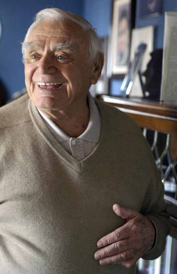 Photo - Actor Ernest Borgnine is photographed at his home near Coldwater Canyon in Beverly Hills, Calif. Wednesday, Jan. 17, 2007. His 90th birthday is on Wednesday, January 24.(AP Photo/Damian Dovarganes) ORG XMIT: LA303