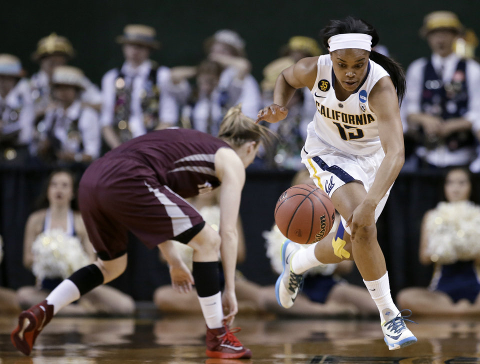 Photo - California's Brittany Boyd (15) comes away with a steal from Fordham's Erin Rooney, left, in the first half of a first-round game in the NCAA women's college basketball tournament, Saturday, March 22, 2014, in Waco, Texas. (AP Photo/Tony Gutierrez)