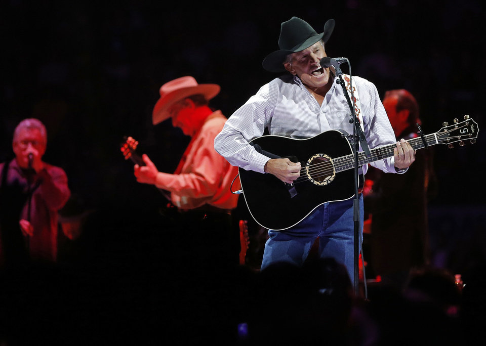 George Strait performs during