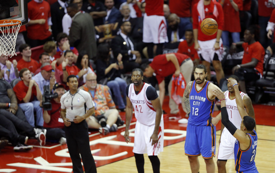 Photo - Oklahoma City's Andre Roberson (21) shoots a free throw during Game 5 in the first round of the NBA playoffs between the Oklahoma City Thunder and the Houston Rockets in Houston, Texas,  Tuesday, April 25, 2017.  Houston won 105-99. Photo by Sarah Phipps, The Oklahoman