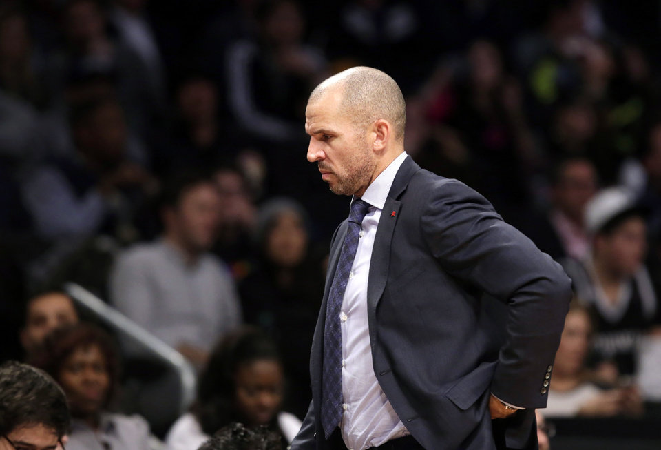 Brooklyn Nets head coach Jason Kidd paces the sideline in the second half of an NBA basketball game against the Denver Nuggets, Tuesday, Dec. 3, 2013, in New York. The Nets reassigned assistant coach Lawrence Frank to a non-bench role in which he will write daily reports and won't be at practices. (AP Photo/Kathy Willens)