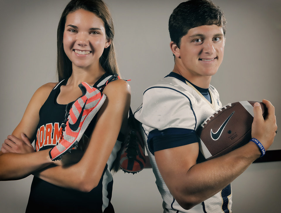 Photo - Norman's Hayley Redwine and Kingfisher's Landon Nault pose for a photo at the Oklahoma Sports Hall of Fame in Oklahoma City, Okla. on Thursday, June 5, 2014. Photo by Chris Landsberger, The Oklahoman
